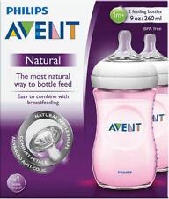 Avent Natural Feeding Bottle 260ML 2 Pk Pink BPA Free Breastfeeding Anti Colic