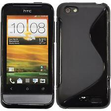 Silicone Case HTC One V S-Style black + protective foils