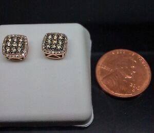 10K Men's/Women's Rose Gold Earring With White & Brown Diamond  0.48CT/ Studs