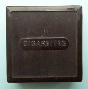 VINTAGE BROWN BAKELITE CIGARETTE BOX with Chromalox advertising inside lid