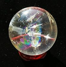 full beautiful rainbow!! natural transparent quartz crystal sphere ball + stand