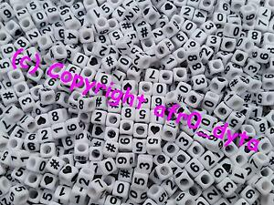 🎀 3 FOR 2 🎀 100 White Mixed Number Cube Pony Beads 6mm