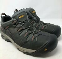 Keen Mens Flint Low Work Hiking Trail Boots Gray Black Lace Up 13 D