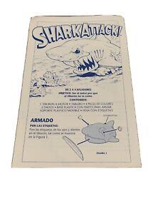 Vtg Shark Attack Board Game Milton Bradley 1988 Replacement Instructions Soanish