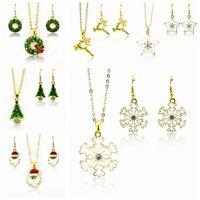 Weihnachtsbaum Schneeflocke Kristall Strass Weihnachten Ohrringe + Halskette Set