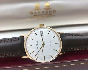 Vintage 9k 9ct Solid Gold Mens Garrard Watch + Box & Strap