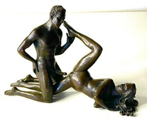 Collectible Edition Man and Woman Make Intense Love Making Bronze Statue Figure