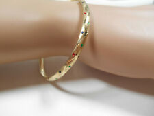NEW Etoile Enamel 14K Yellow Gold Bangle Bracelet Slides Open