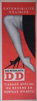 PUBLICITÉ DE PRESSE 1954 BAS REVERLASTIC DD REVERS DENTELLE - CHAT - ADVERTISING