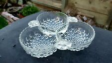Crystal Clear Moonstone Cloverleaf Bowl 3 Part