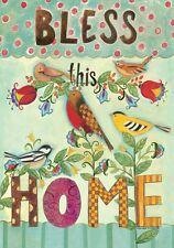 Bless This Home Bird Polka Dot Inspirational Double Sided Garden Flag 12 x 18