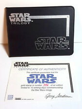 1995 Star Wars Gold Postage Stamp Wallet from St Vincent w COA- UNUSED (M5812)
