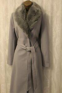 ASOS Classic Removable Fur Collar Slim Wrap belt Jacket Winter Long Coat 6 & 8