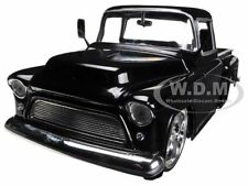 1955 CHEVROLET STEPSIDE PICKUP TRUCK BLACK 1/24 DIECAST CAR MODEL BY JADA 90160