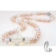 AU Seller Genuine Pink pearls&15mm Huge Natural Moon Stone Necklace 010580