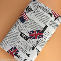 50x150cm Cotton Linen Fabric DIY ZAKKA Home Deco Newspaper Union Jack 1010-2 E