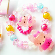 little girls strech Bunny rabbit girl beads bracelet & ring set childrens kids