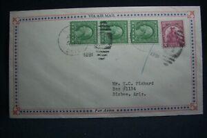 Sc #s 543 (Strip of 3) & 657 on 1931 Air Mail Envelope Baker Ore to Bisbee Ariz