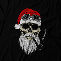 Bad Santa Skull face Ugly Christmas Tshirt- Beard,Red hat,Pipe smoking rider