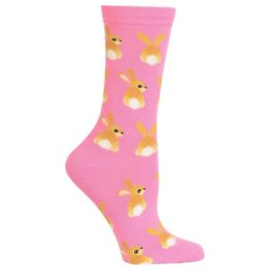 Fluffy Bunny Tails Hot Sox  Women's Crew Socks Pink New Colorful Rabbit Fashion