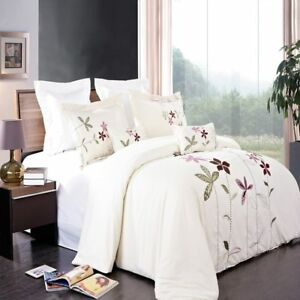 Brilliant 5pc Microfiber Embroidered South Garden Duvet Cover Set