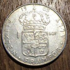 PIECE DE 1 KRONE SWEDEN COURONNE SUEDE 1965 ARGENT SILVER (359)