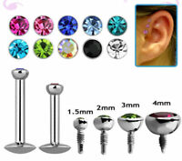 16G Labret Monroe Cartilage Earring Stud Surgical Steel with Bezel Set Flat Gem