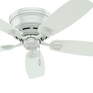 Hunter Fan 48 inch Casual Outdoor Ceiling Fan - White w/ White Plastic Blades