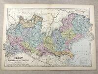 1891 Antik Map Of Italien Lombardy Venice Alte 19th Jahrhundert Original