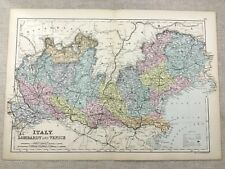 1891 Antique Map of Italy Lombardy Venice Old 19th Century Original