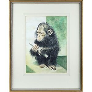 Signed Framed Chimpanzee Mobile Phone Watercolour Portrait Painting 51 X 41 cm