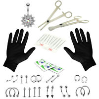 41 Pcs Professional Body Piercing Kit Belly Button Tongue Lip Nose 14G 16G