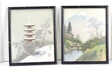 ANTIQUE JAPANESE BIRD WOODBLOCK PRINT FRAMES WITH GLASS SIGNED