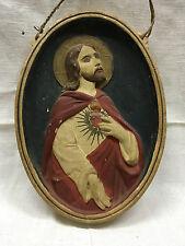 joli médaillon religieux Coeur de Jésus bas relief en platre XIXème