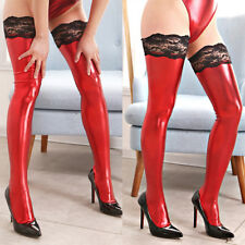 Womens Sexy Faux Leather Wet Look Thigh High Stockings Lace Top Stay Up Clubwear