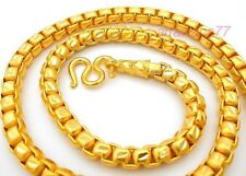 "Men's Chain 22K 23K 24K Thai Gold Filled Yellow Plated Necklace 27"" Jewelry 7 MM"