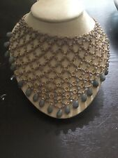 Anthropology necklace gold with grey nwt