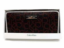Calvin Klein Zip Around Wallet Black Red Silver Monogram Clutch New In Box!