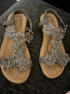 Ladies Lovely Summer Holiday Sparkly Flat Sandals Size 4