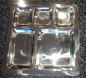 Stainless Steel CAFETERIA STYLE Serving Tray 5 COMPARTMENT FOOD Restaurant FOOD