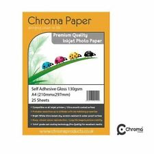 Chroma A4 Self Adhesive Sticky Sticker Gloss Inkjet Photo Paper 130gsm 25 Pack