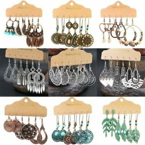 3Pairs Boho Gypsy Earrings Set Tribal Ethnic Ear Hook Drop Dangle Jewelry Gift