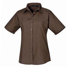 Maglie e camicie da donna a manica corta in marrone con colletto classico
