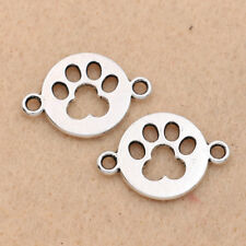 10pcs Antique Silver Dog Paw Footprint Connector for Making Bracelet Findings