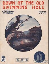 1921 Al Wilson & Jim Brennan Sheet Music (Down At the Old Swimming Hole)