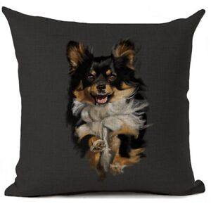 LEAPING LONG HAIRED CHIHUAHUA CUSHION COVER FOR THE HOME CAR OFFICE NICE GIFT