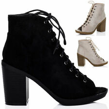 Women's Lace Up Block High Heel (3-4.5 in.) Ankle Boots