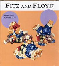 New ListingVintage Fitz Floyd Box Set 3 Scary Crow Scarecrow Tumbler Thanksgiving Halloween