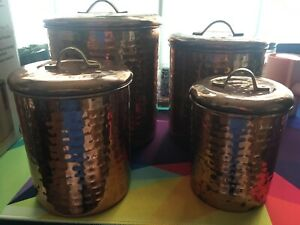 Old Dutch International Decor Hammered Copper 4-Piece Canister Set Used