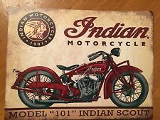 """Tin Sign Vintage Indian Motorcycles Model """"101"""" Indian Scout"""